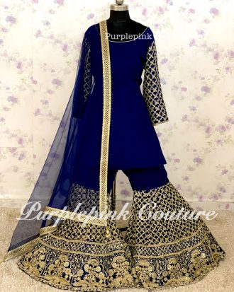 Navy Blue Georgette Base Hand Embroidered Gharara Set