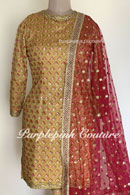 Silk Base Mustard Heavy Embroidered Suit