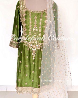 Aaina Mehandi Green Silk Hand Embroidered Suit Patiyala Salwar