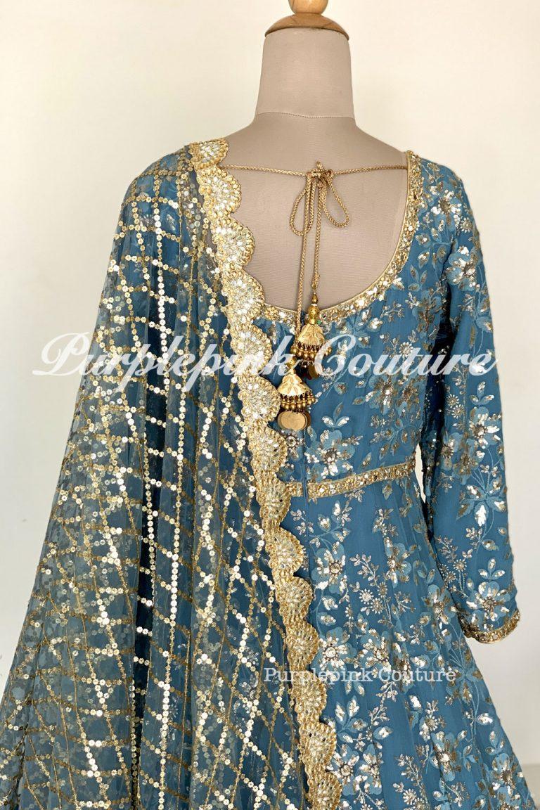 Laila Greyish Blue Georgette Heavy Embroidered Floor Length Anarkali