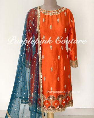 Beautiful Orange Silk Base Hand Embroidered Suit Teal Blue Net Dupatta