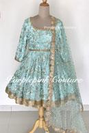 Laila Aqua Blue Georgette Heavy Embroidered Short Anarkali