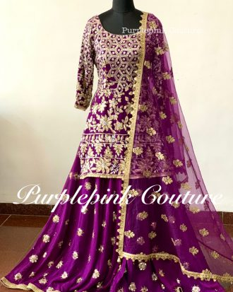 Rafat Purple Georgette Heavy Sequin Zari Embroidered Suit Sharara Set