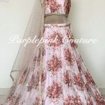 Roselyn Organza Floral Print Gold Embroidered Lehenga Set