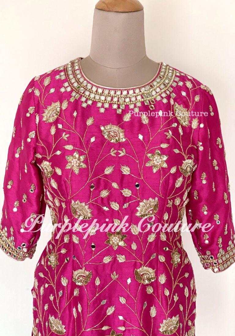 Magenta Pink Silk Base Gharara Set