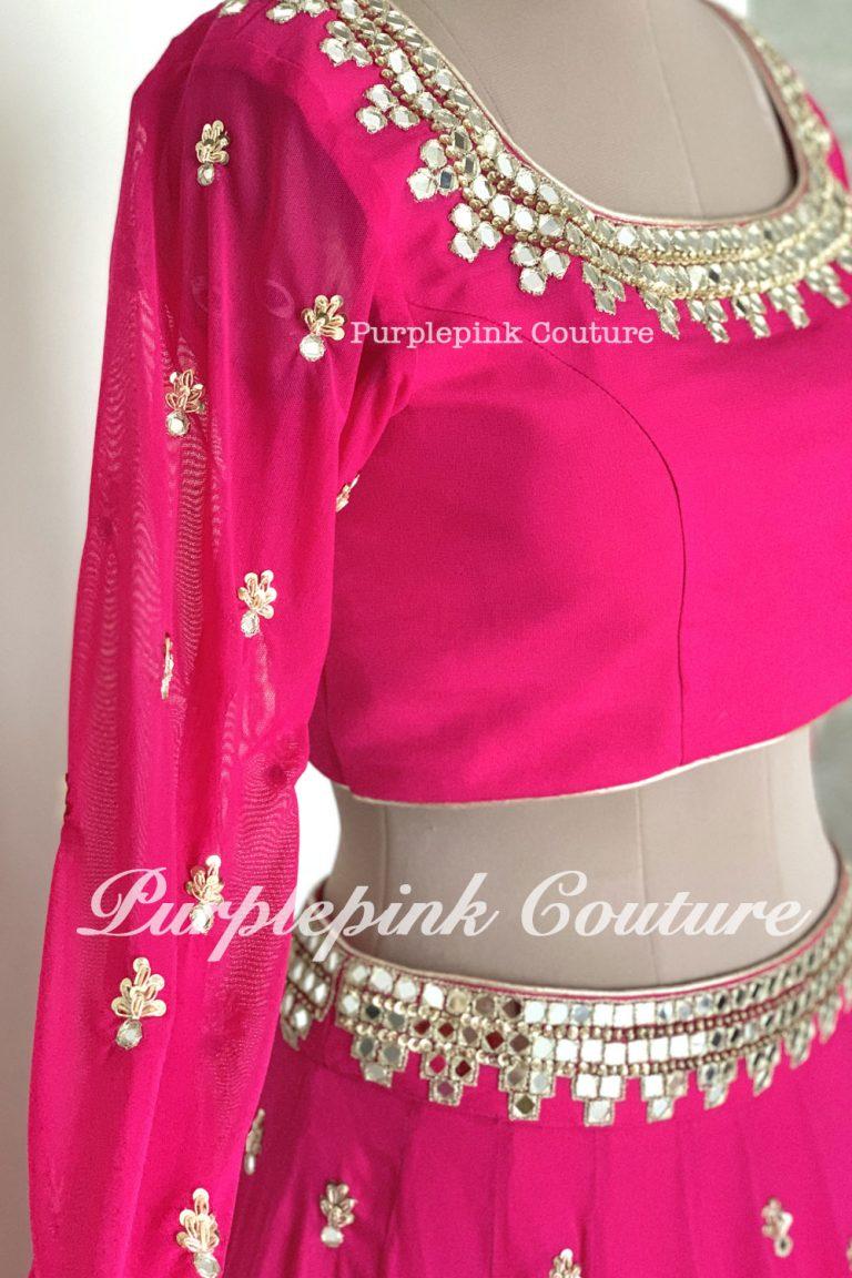 Anastasia Hot Pink Georgette Base Hand Embroidered Lehenga Mirror Work Blouse