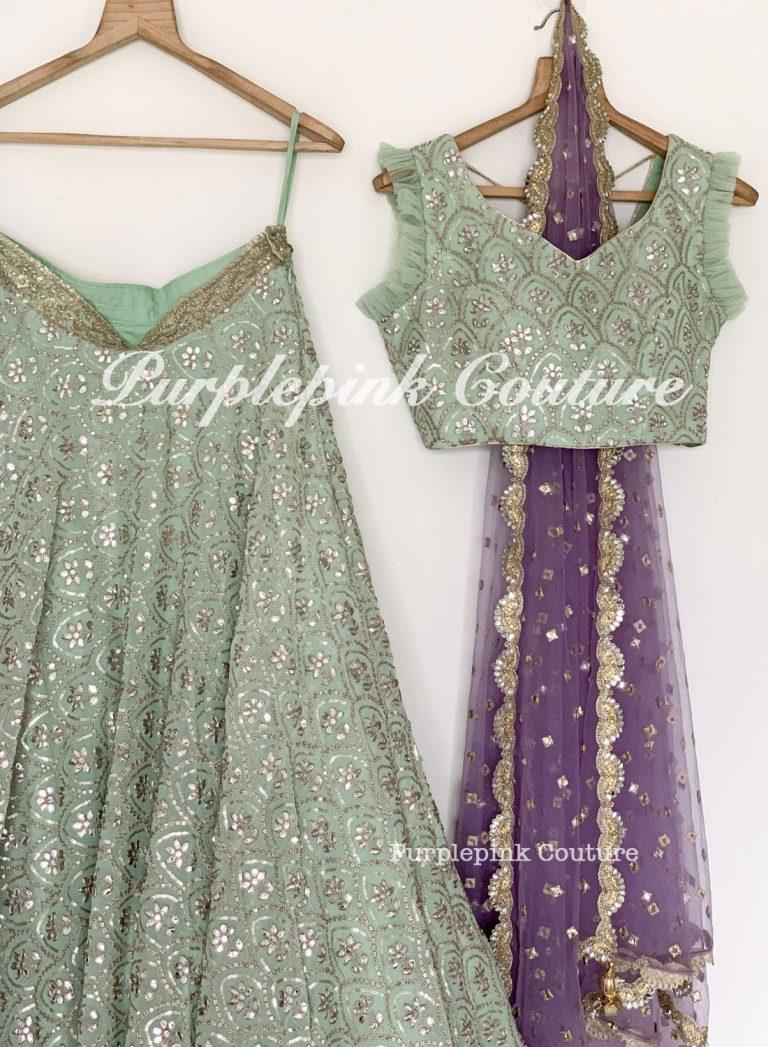 Brunerra Greenish Blue Lehenga Choli Light Purple Dupatta