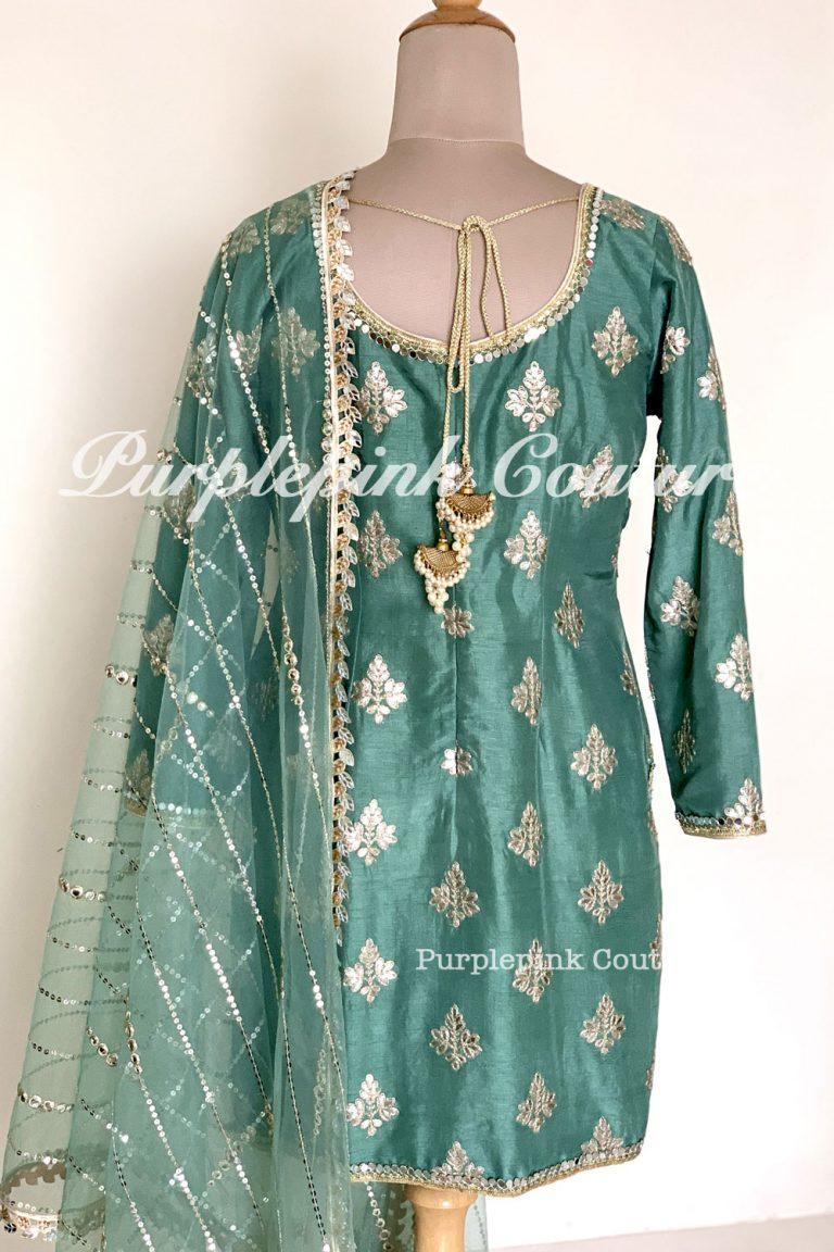 Celina Dark Sage Green Silk Base Gota Suit Patiyala Salwar