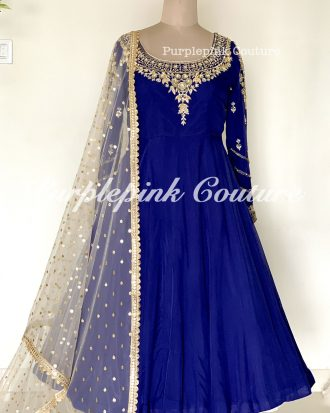 Navy Blue Organza Hand Embroidered Mid Length Anarkali