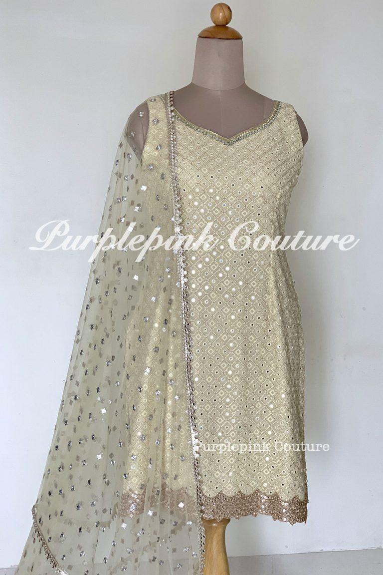 Georgette Base Suit Foil Mirror