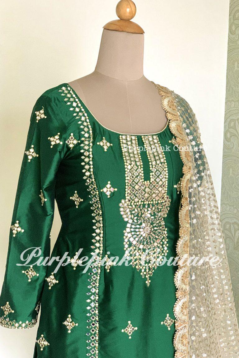 Irene Green Silk Suit Beige Georgette Salwar Heavy Sequins Dupatta